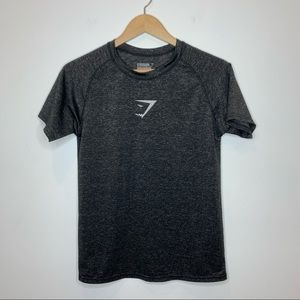 GymShark Logo Short Sleeve Tee Shirt black grey